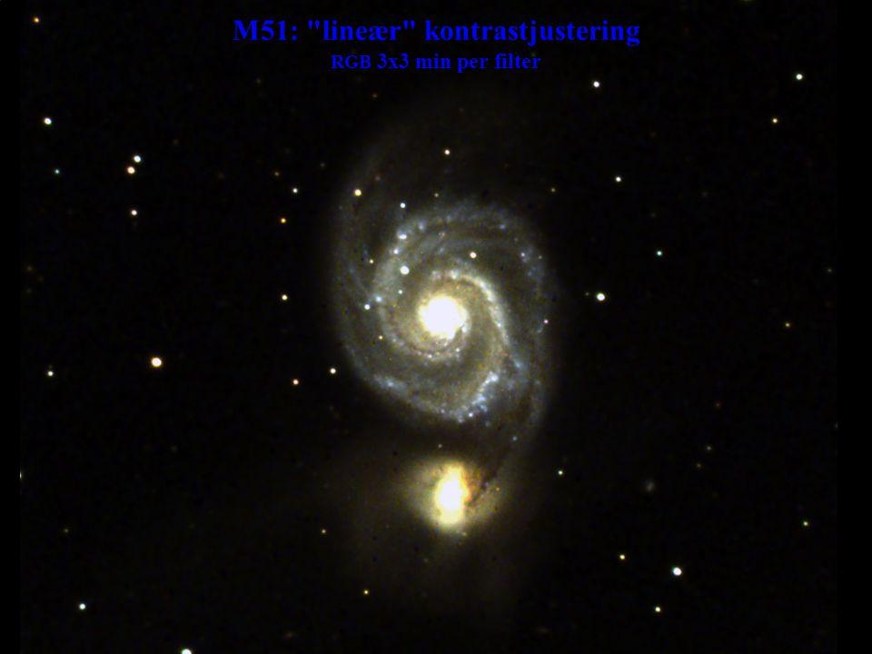 M51: lineær kontrastjustering RGB 3x3 min per filter