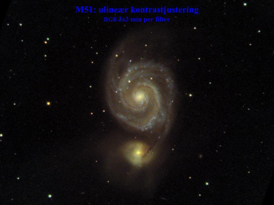 M51: ulineær kontrastjustering RGB 3x3 min per filter