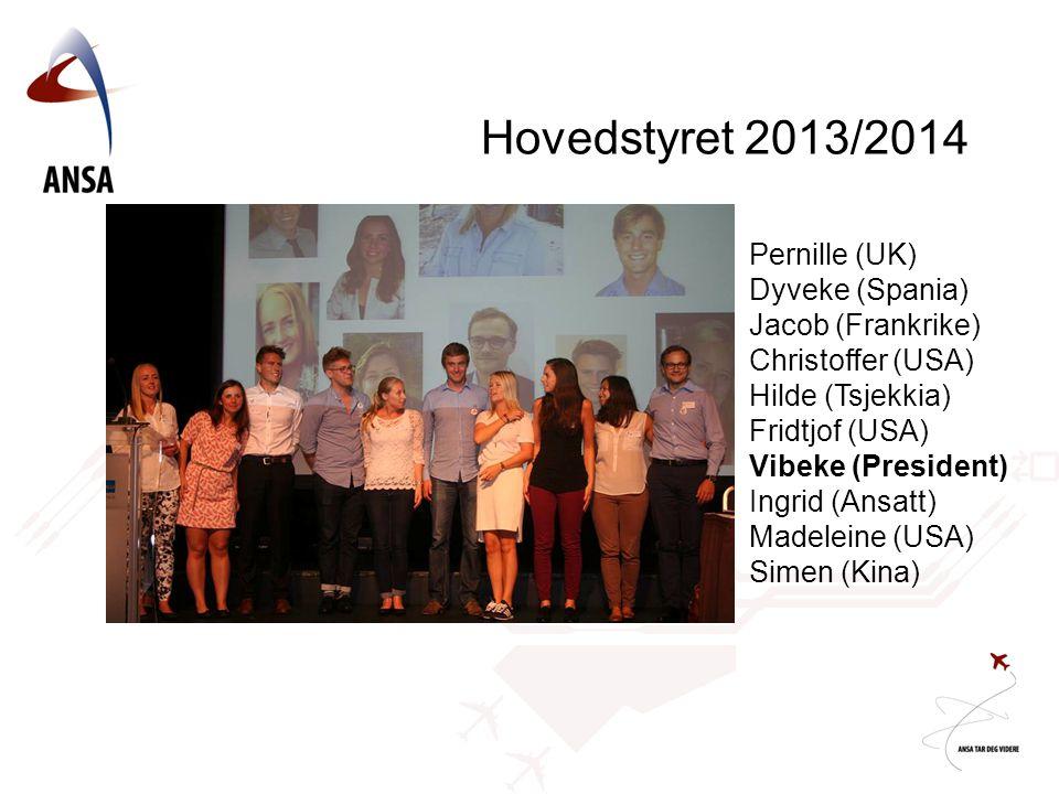 Hovedstyret 2013/2014 Pernille (UK) Dyveke (Spania) Jacob (Frankrike)