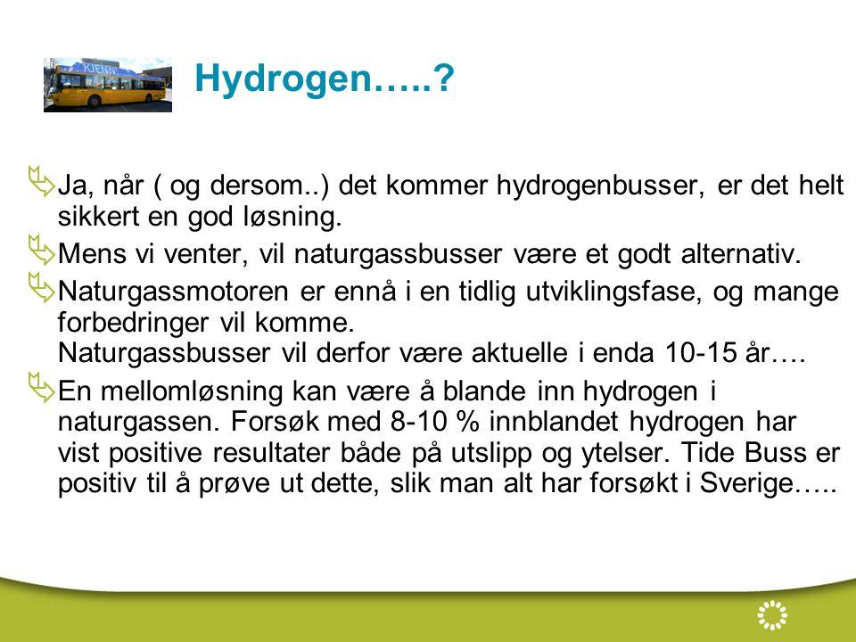 Hydrogen….. Ja, når ( og dersom..) det kommer hydrogenbusser, er det helt sikkert en god løsning.