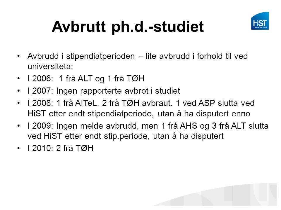 Avbrutt ph.d.-studiet Avbrudd i stipendiatperioden – lite avbrudd i forhold til ved universiteta: I 2006: 1 frå ALT og 1 frå TØH.