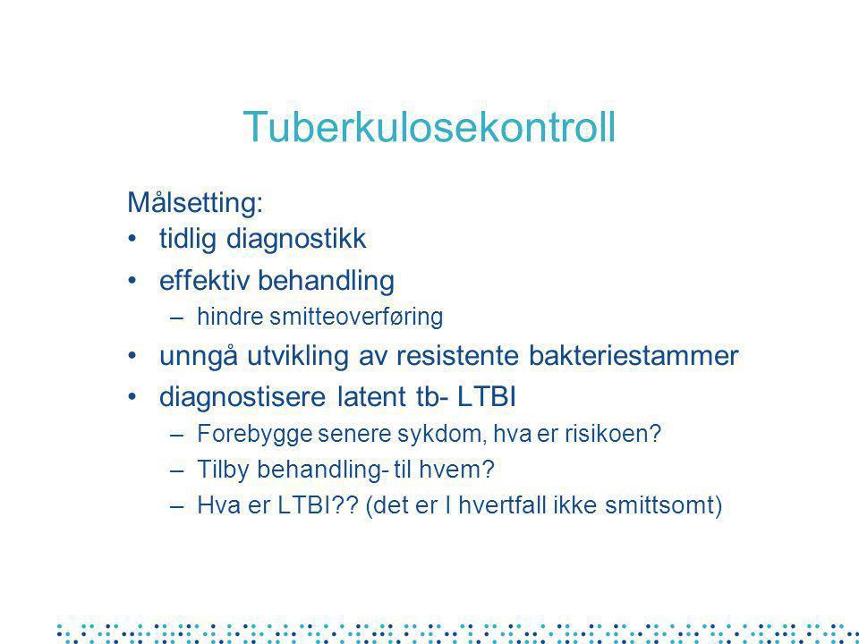 Tuberkulosekontroll Målsetting: tidlig diagnostikk effektiv behandling