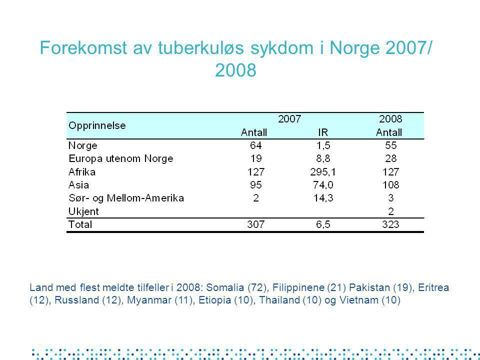 Forekomst av tuberkuløs sykdom i Norge 2007/ 2008