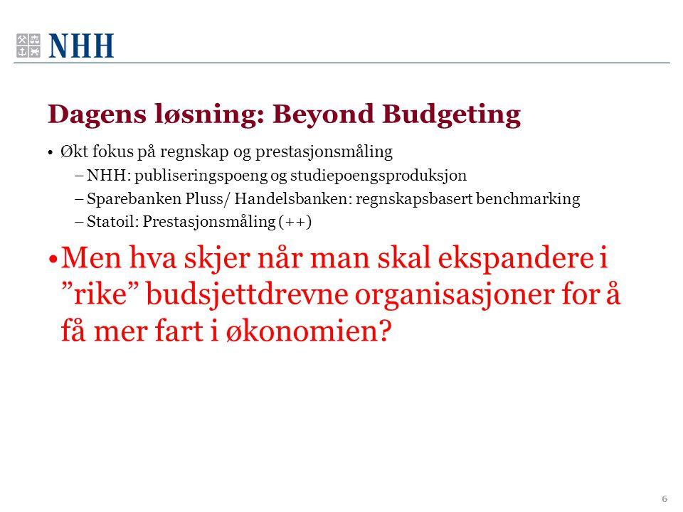 Dagens løsning: Beyond Budgeting