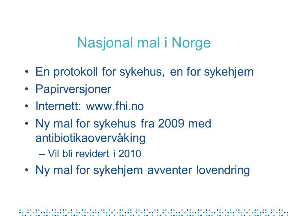 Nasjonal mal i Norge En protokoll for sykehus, en for sykehjem