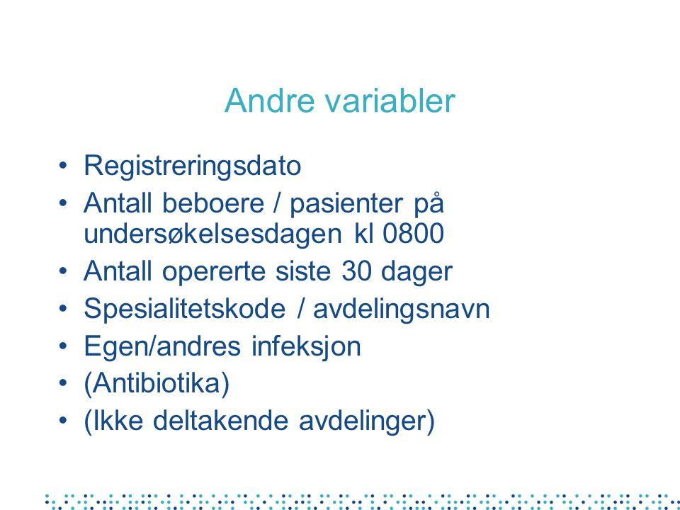 Andre variabler Registreringsdato