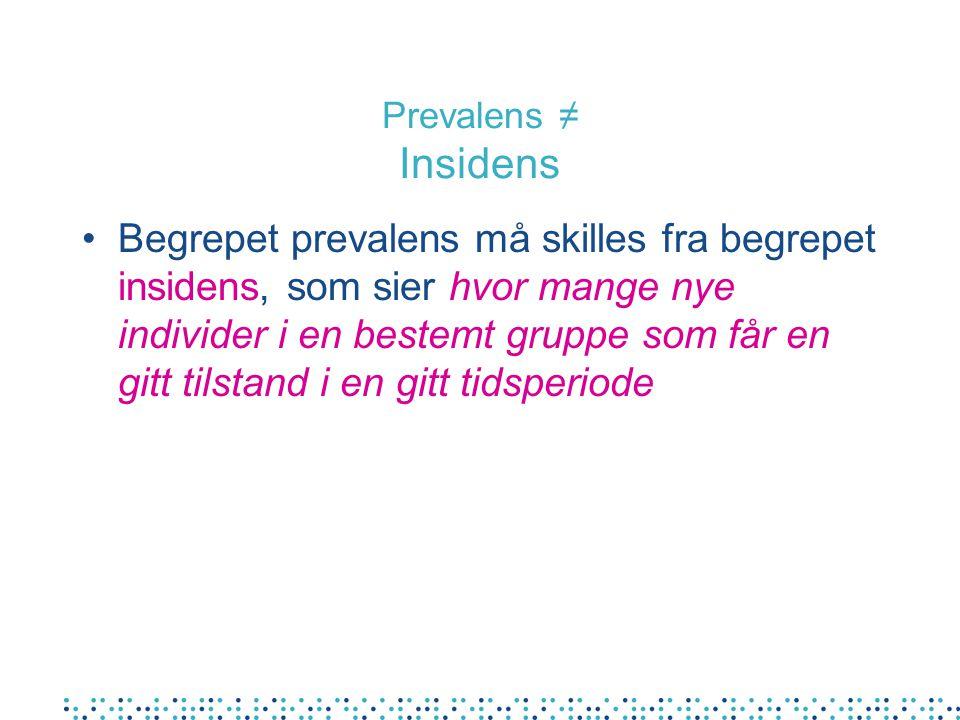 Prevalens ≠ Insidens