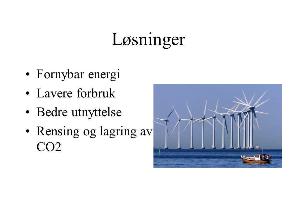 Løsninger Fornybar energi Lavere forbruk Bedre utnyttelse