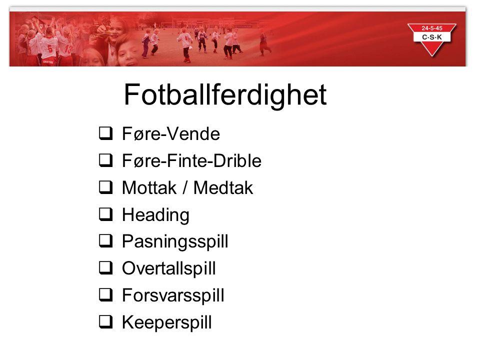 Fotballferdighet Føre-Vende Føre-Finte-Drible Mottak / Medtak Heading