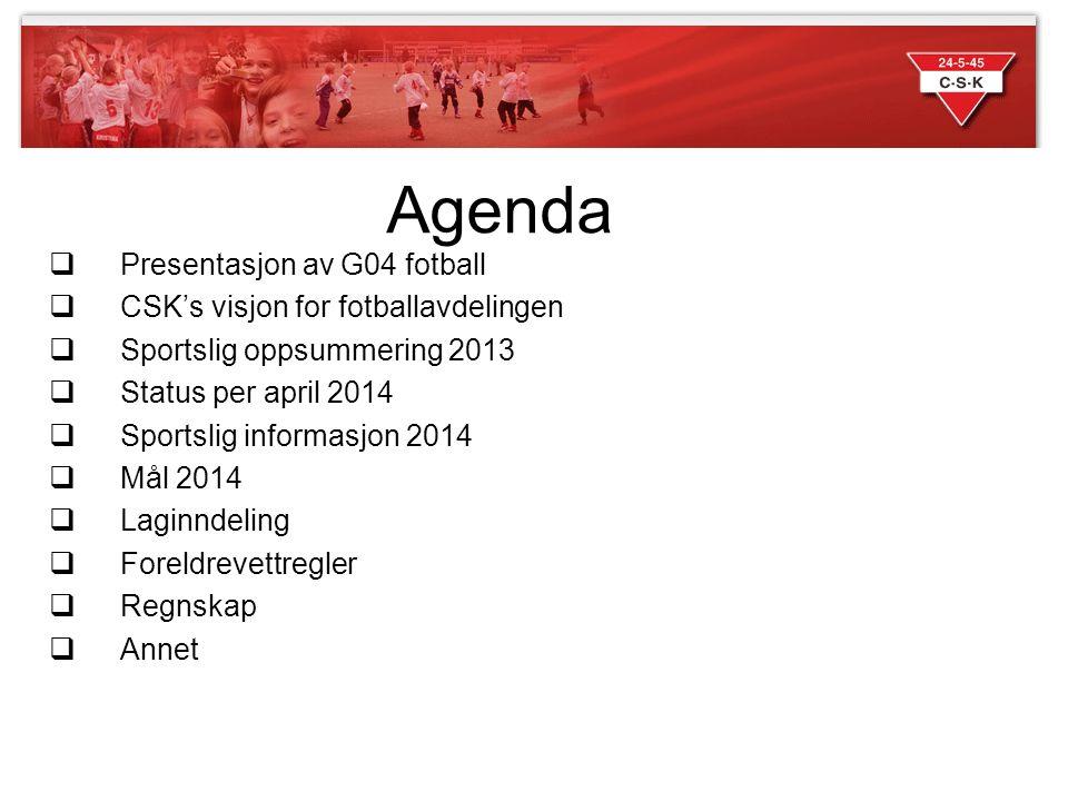 Agenda Presentasjon av G04 fotball CSK's visjon for fotballavdelingen