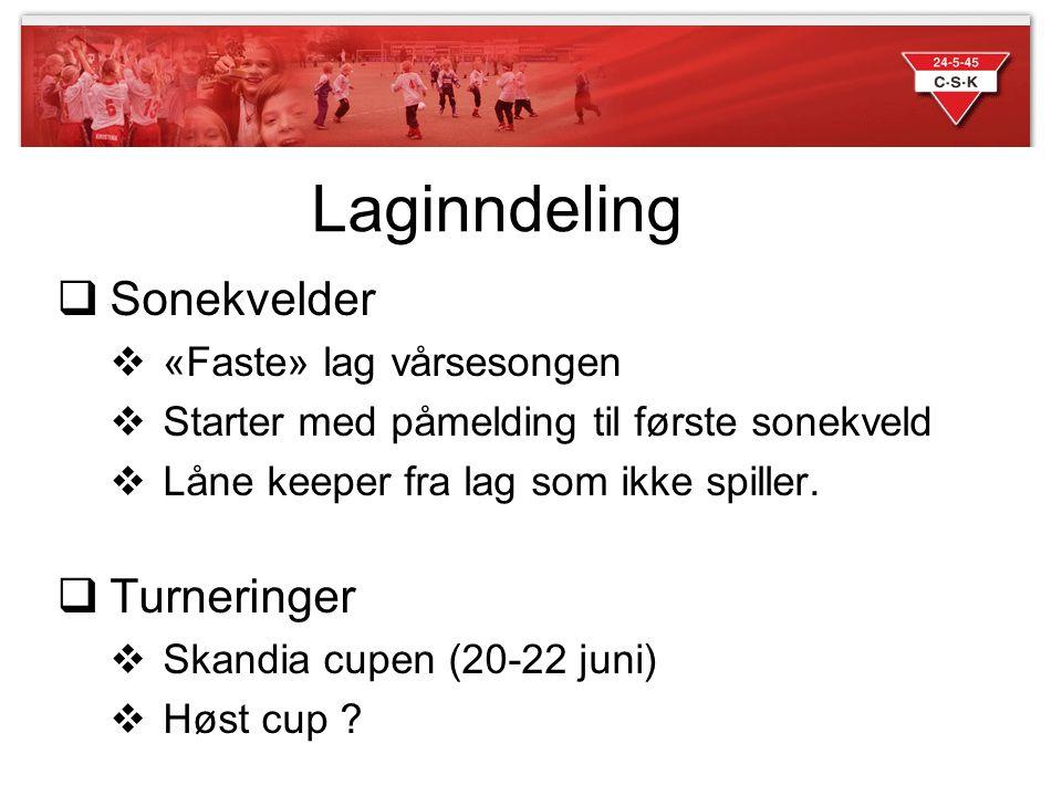 Laginndeling Sonekvelder Turneringer «Faste» lag vårsesongen