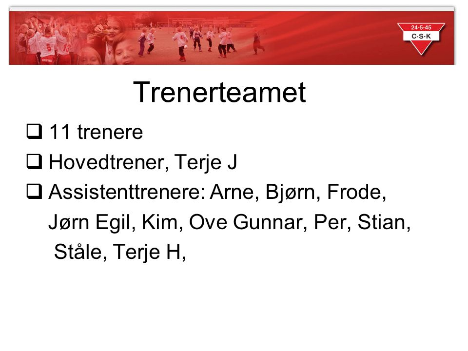 Trenerteamet 11 trenere Hovedtrener, Terje J
