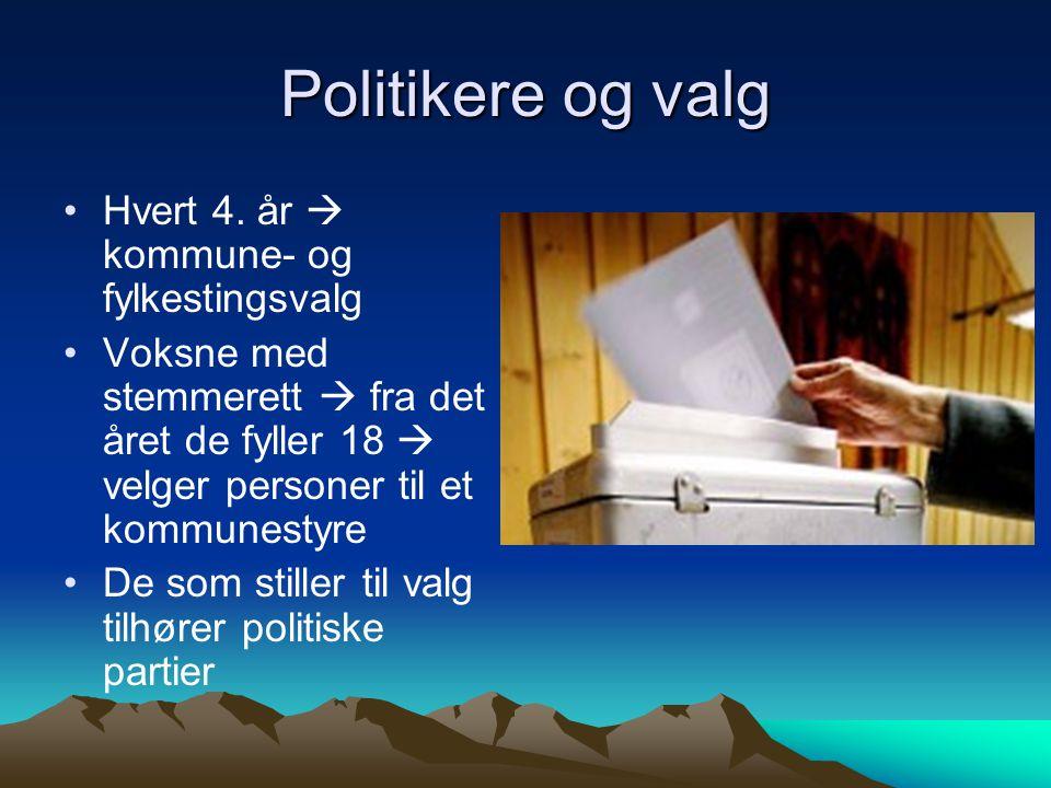 Politikere og valg Hvert 4. år  kommune- og fylkestingsvalg