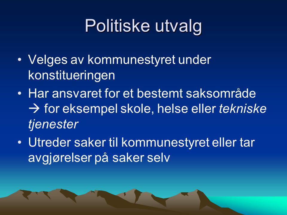Politiske utvalg Velges av kommunestyret under konstitueringen