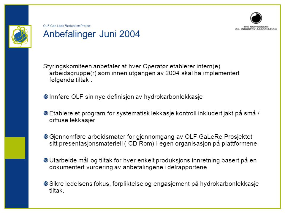OLF Gas Leak Reduction Project Anbefalinger Juni 2004