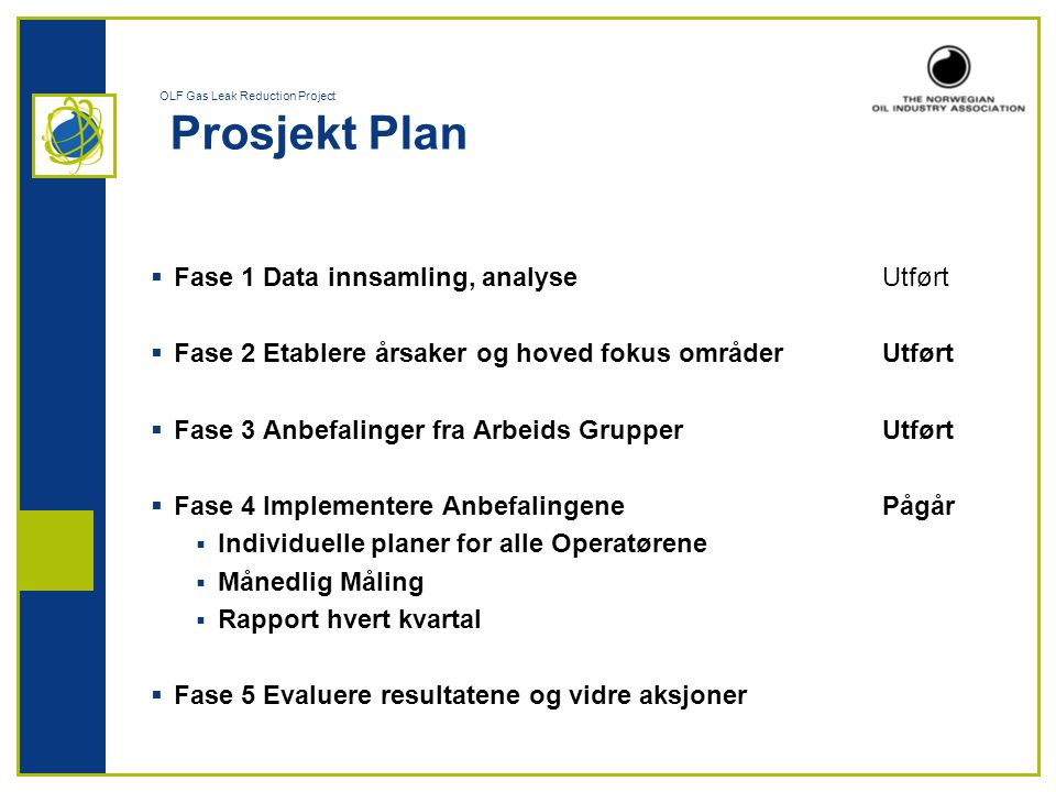 OLF Gas Leak Reduction Project Prosjekt Plan