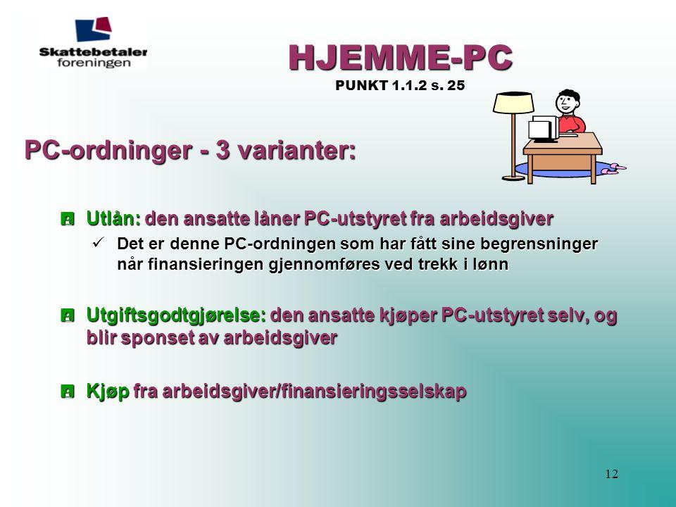 HJEMME-PC PUNKT 1.1.2 s. 25 PC-ordninger - 3 varianter:
