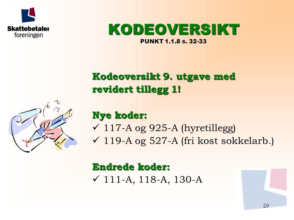 KODEOVERSIKT PUNKT 1.1.8 s. 32-33 Kodeoversikt 9. utgave med