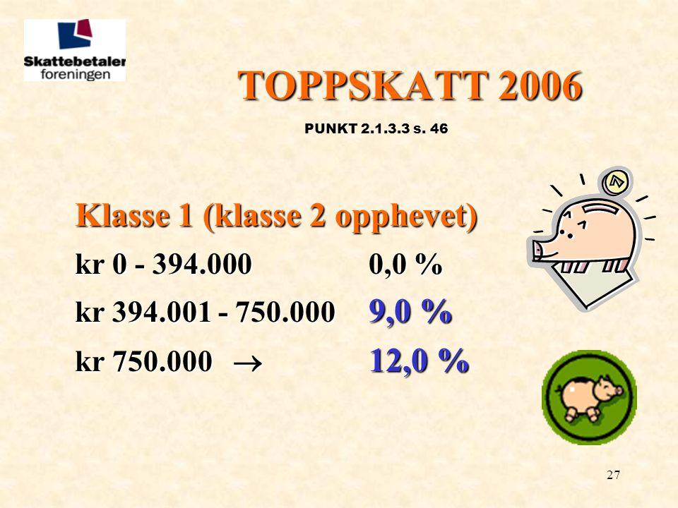 TOPPSKATT 2006 Klasse 1 (klasse 2 opphevet) kr 0 - 394.000 0,0 %