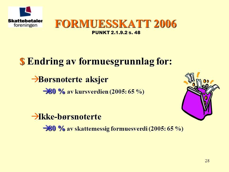 FORMUESSKATT 2006 PUNKT 2.1.9.2 s. 48 $ Endring av formuesgrunnlag for: Børsnoterte aksjer. 80 % av kursverdien (2005: 65 %)
