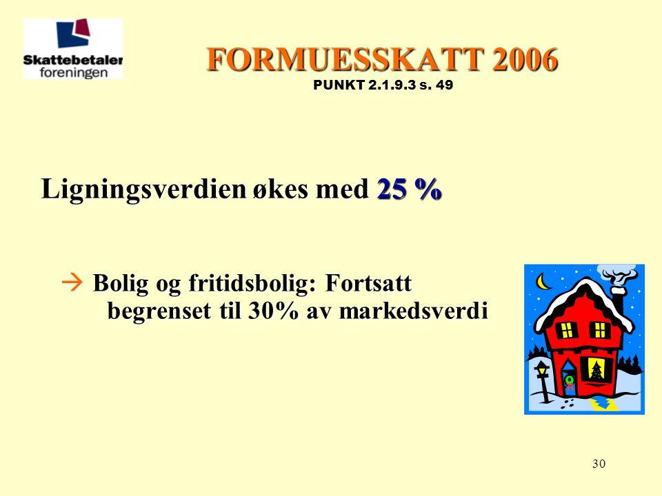 FORMUESSKATT 2006 PUNKT 2.1.9.3 s. 49 Ligningsverdien økes med 25 %