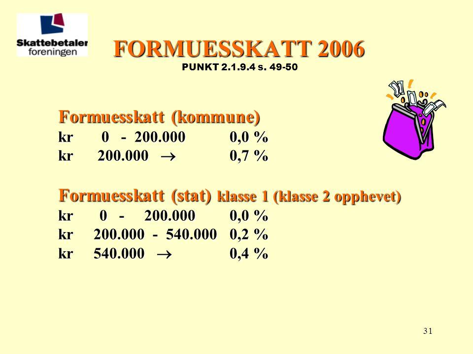 FORMUESSKATT 2006 PUNKT 2.1.9.4 s. 49-50 Formuesskatt (kommune)