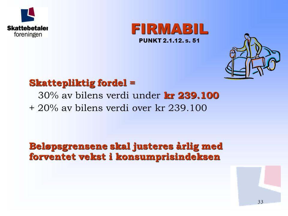 FIRMABIL PUNKT 2.1.12. s. 51 Skattepliktig fordel =