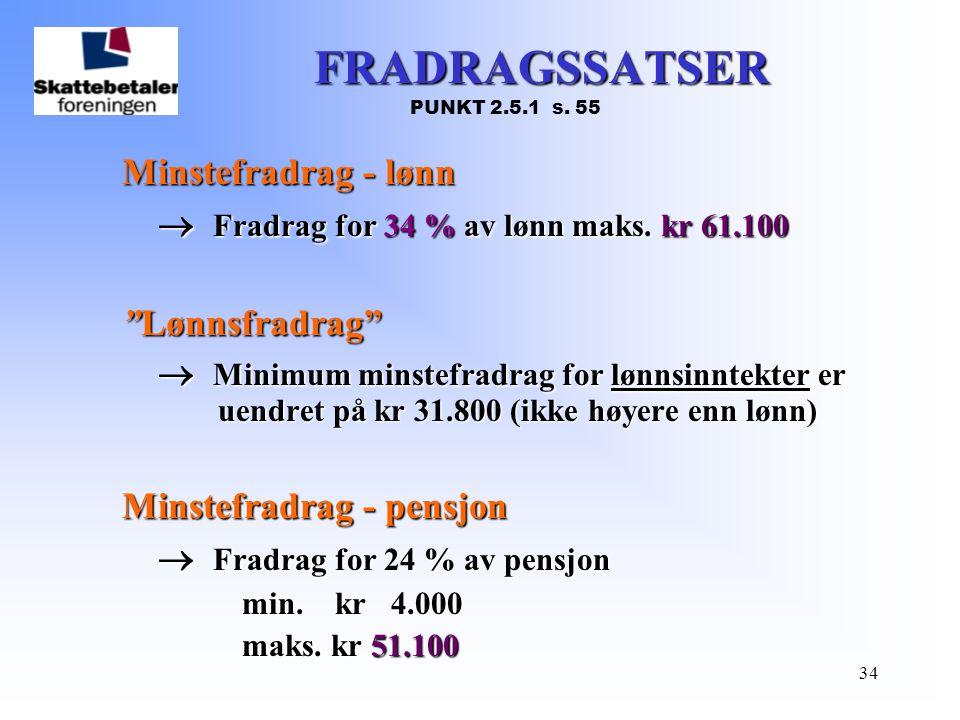 FRADRAGSSATSER  Fradrag for 34 % av lønn maks. kr 61.100