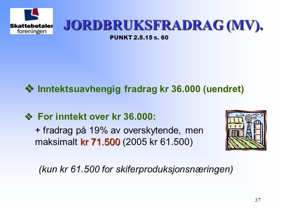 JORDBRUKSFRADRAG (MV). PUNKT 2.5.15 s. 60
