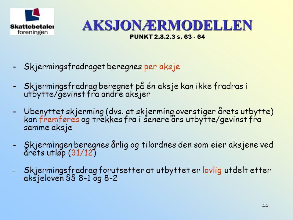 AKSJONÆRMODELLEN PUNKT 2.8.2.3 s. 63 - 64