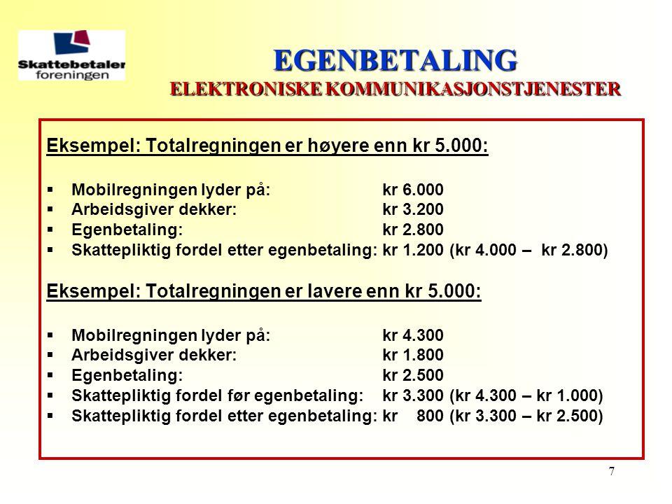 EGENBETALING ELEKTRONISKE KOMMUNIKASJONSTJENESTER