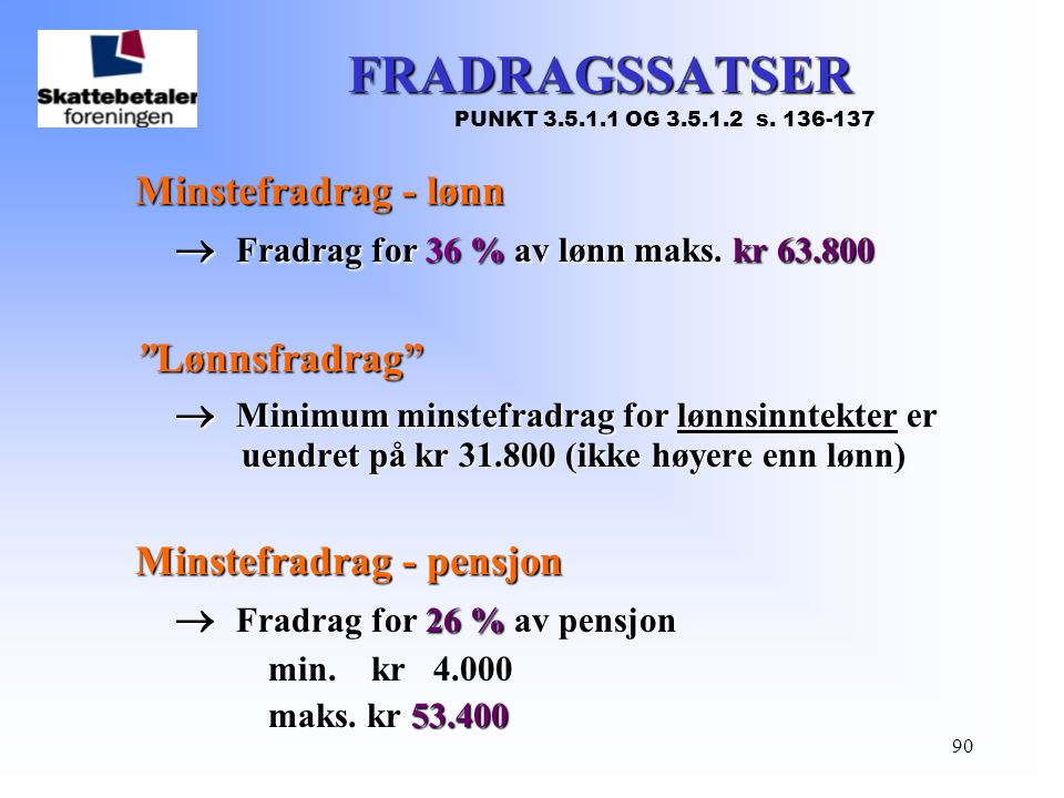 FRADRAGSSATSER  Fradrag for 36 % av lønn maks. kr 63.800