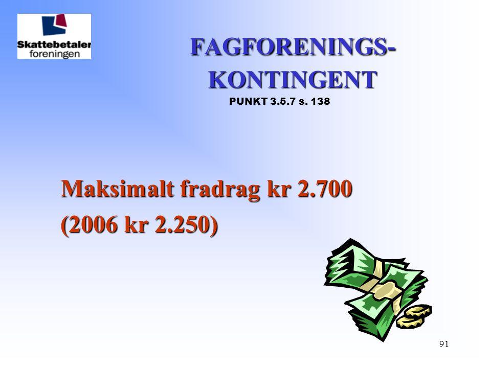 FAGFORENINGS- KONTINGENT PUNKT 3.5.7 s. 138