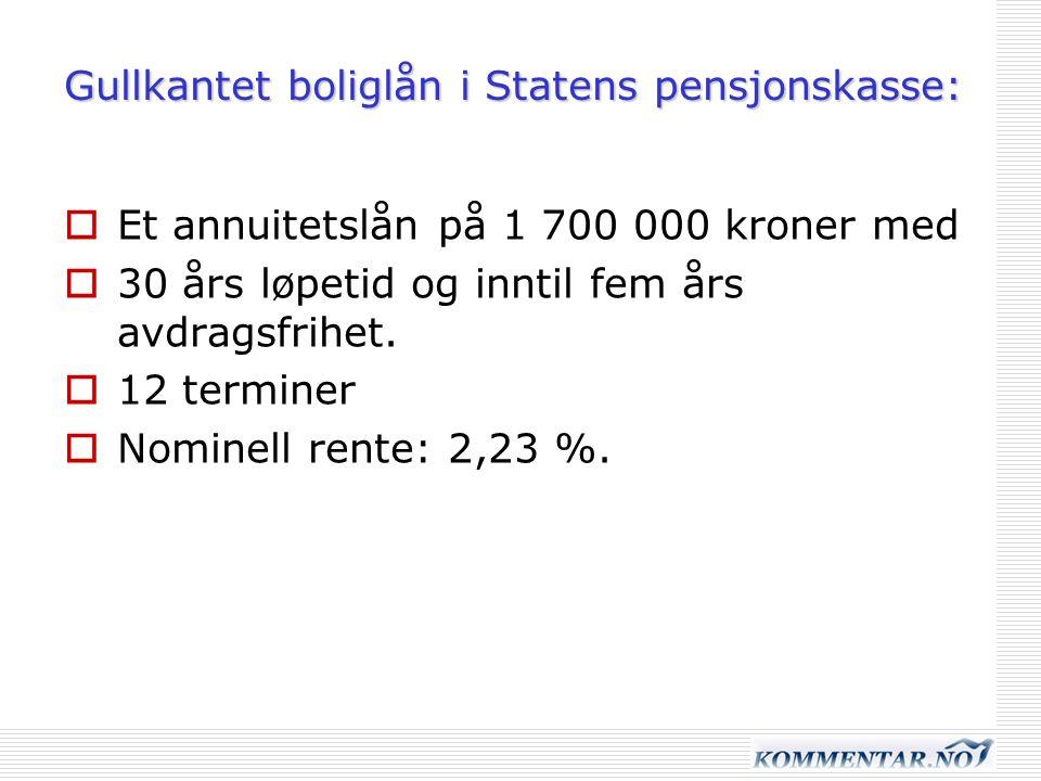 Gullkantet boliglån i Statens pensjonskasse: