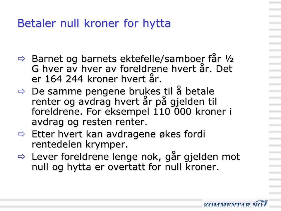 Betaler null kroner for hytta