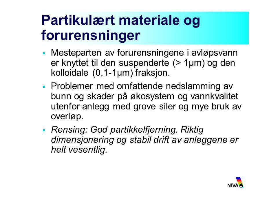 Partikulært materiale og forurensninger