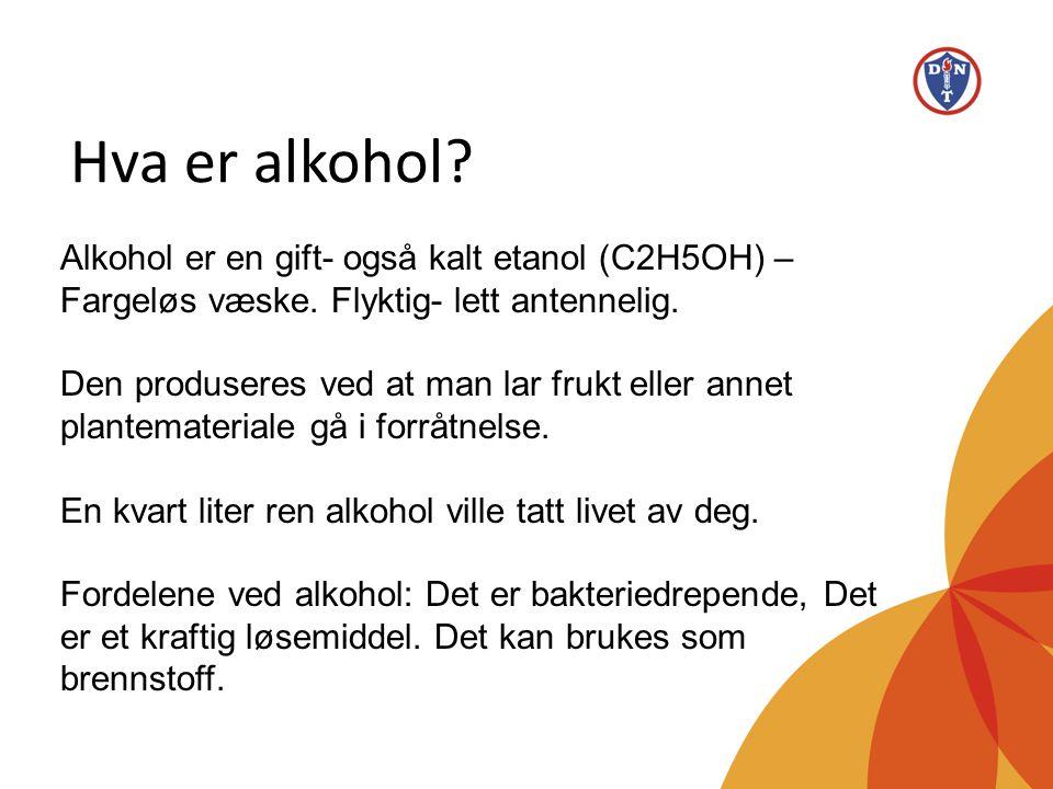 Hva er alkohol Alkohol er en gift- også kalt etanol (C2H5OH) – Fargeløs væske. Flyktig- lett antennelig.