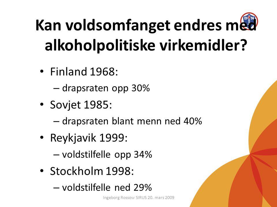 Kan voldsomfanget endres med alkoholpolitiske virkemidler