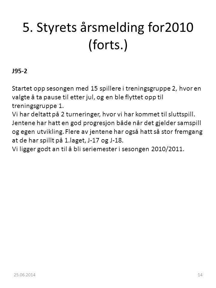 5. Styrets årsmelding for2010 (forts.)