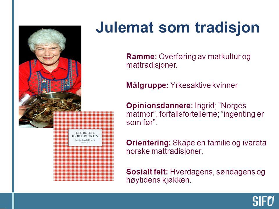 Julemat som tradisjon Ramme: Overføring av matkultur og mattradisjoner. Målgruppe: Yrkesaktive kvinner.