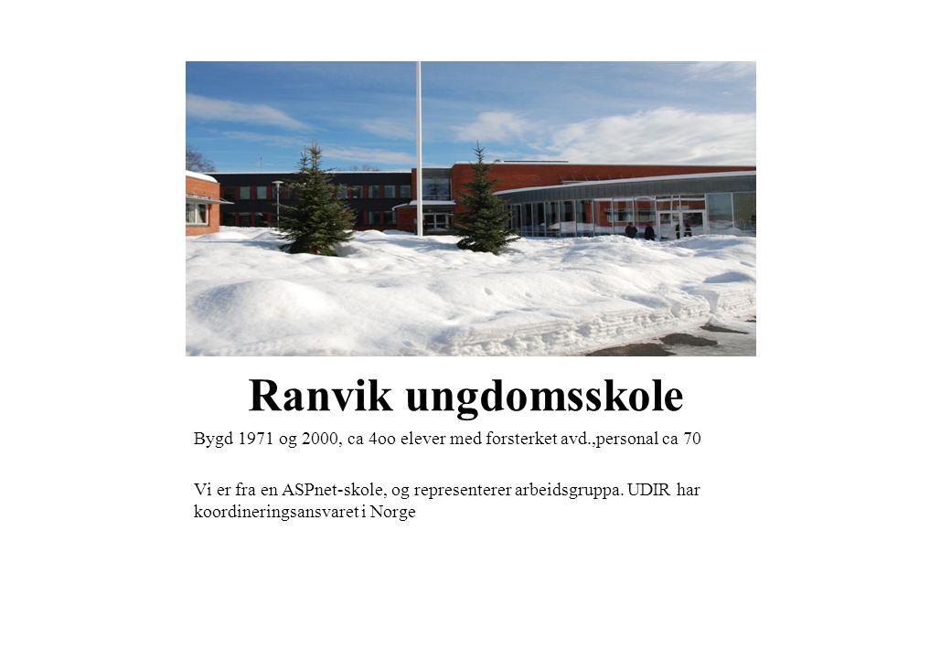 Ranvik ungdomsskole Bygd 1971 og 2000, ca 4oo elever med forsterket avd.,personal ca 70.