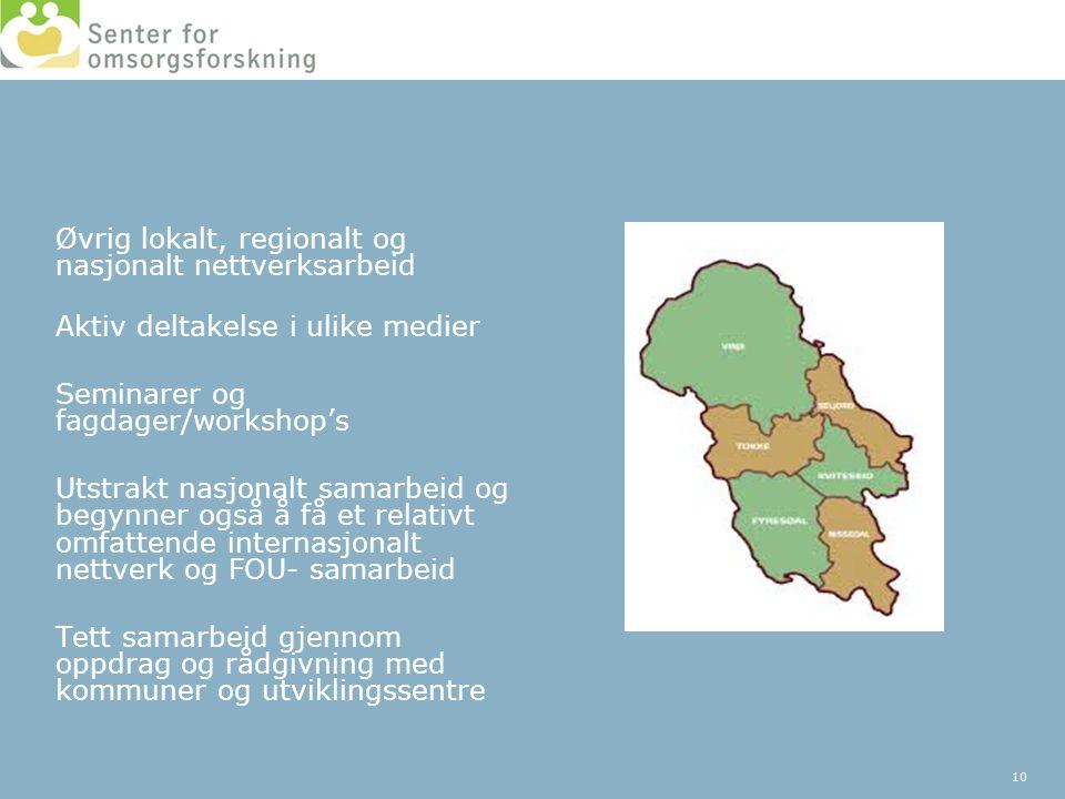 Øvrig lokalt, regionalt og nasjonalt nettverksarbeid
