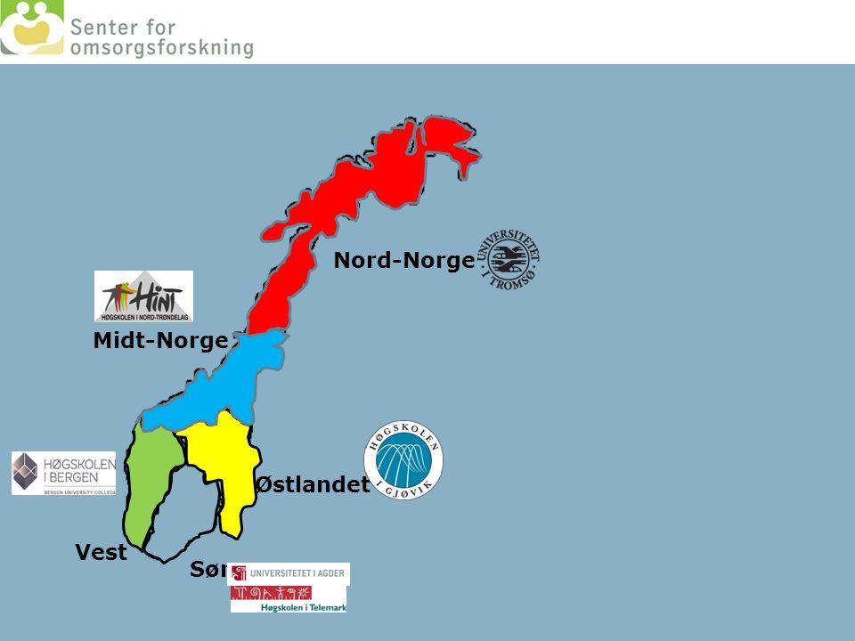 Nord-Norge Midt-Norge Østlandet Vest Sør