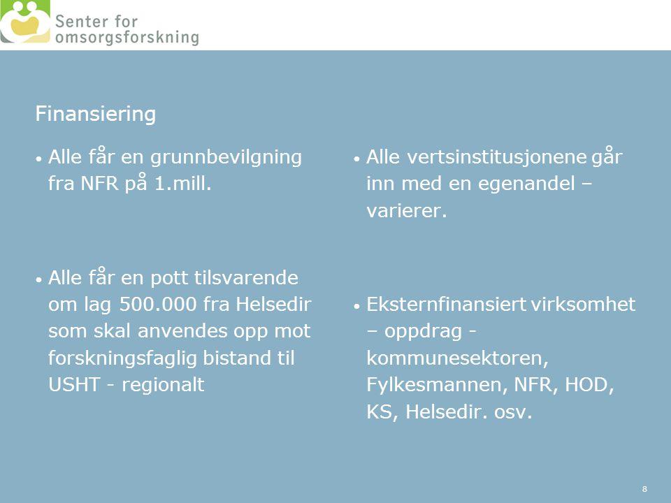 Finansiering Alle får en grunnbevilgning fra NFR på 1.mill.