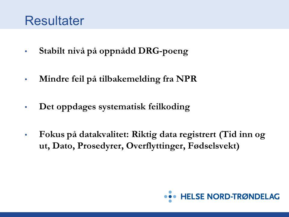Resultater Stabilt nivå på oppnådd DRG-poeng