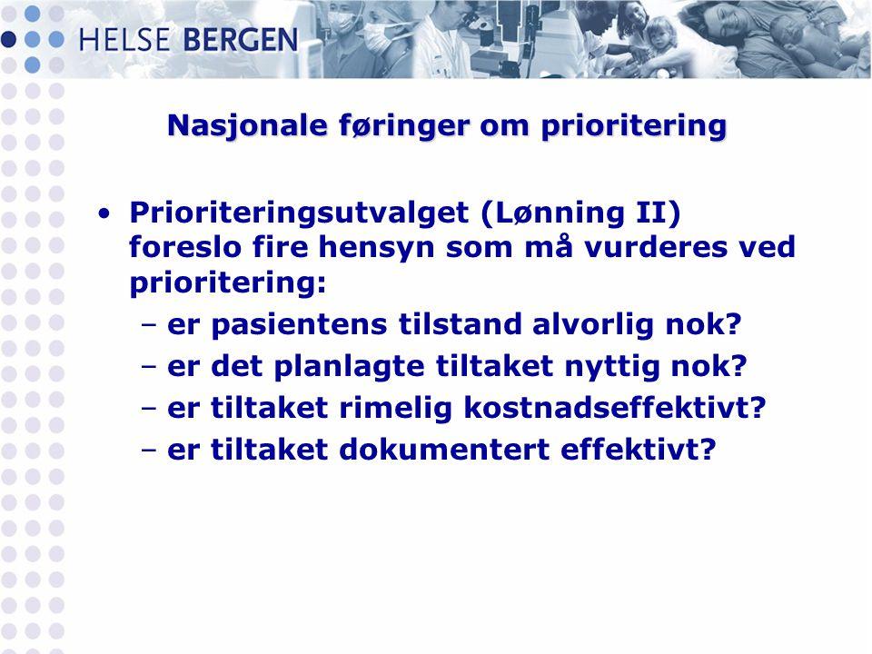Nasjonale føringer om prioritering