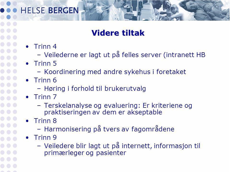 Videre tiltak Trinn 4. Veilederne er lagt ut på felles server (intranett HB. Trinn 5. Koordinering med andre sykehus i foretaket.