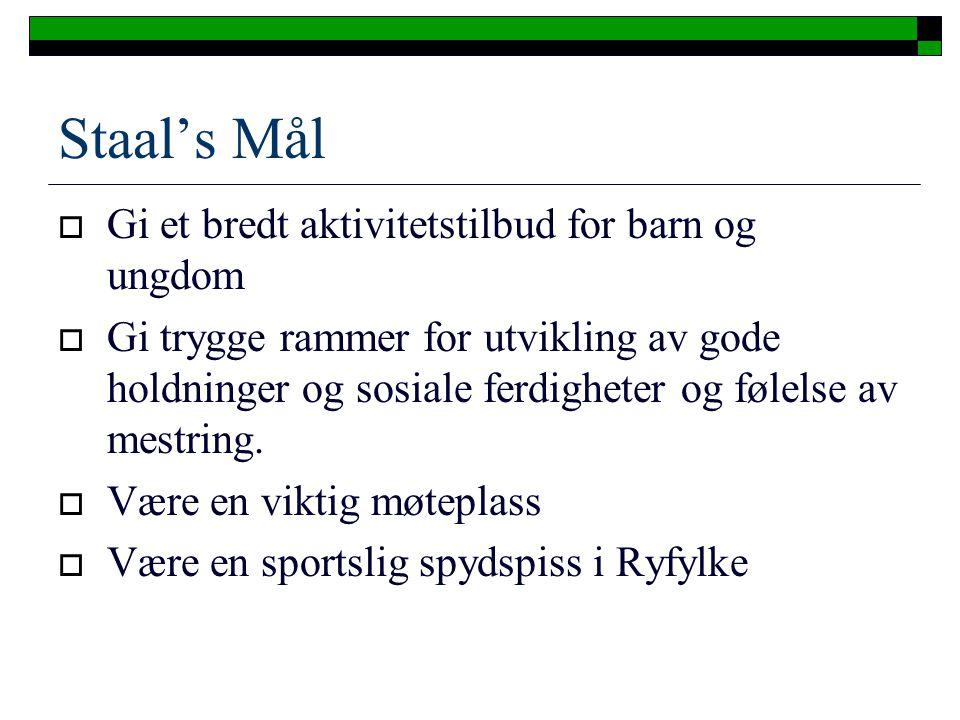 Staal's Mål Gi et bredt aktivitetstilbud for barn og ungdom