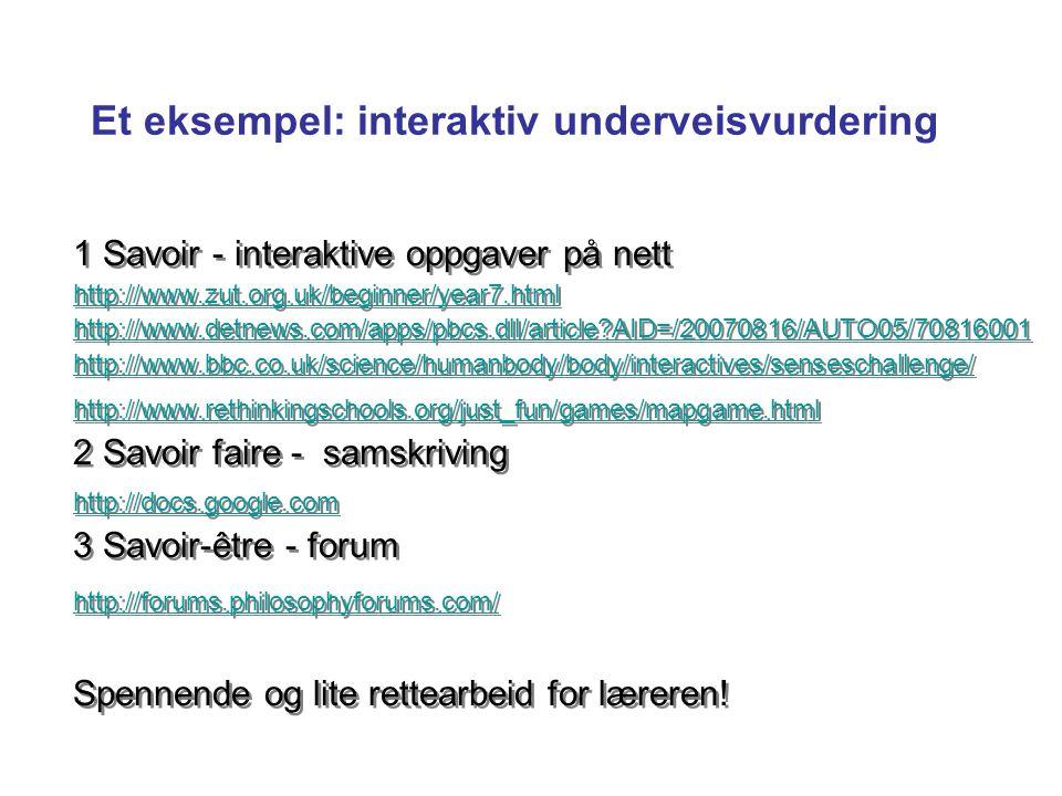 Et eksempel: interaktiv underveisvurdering