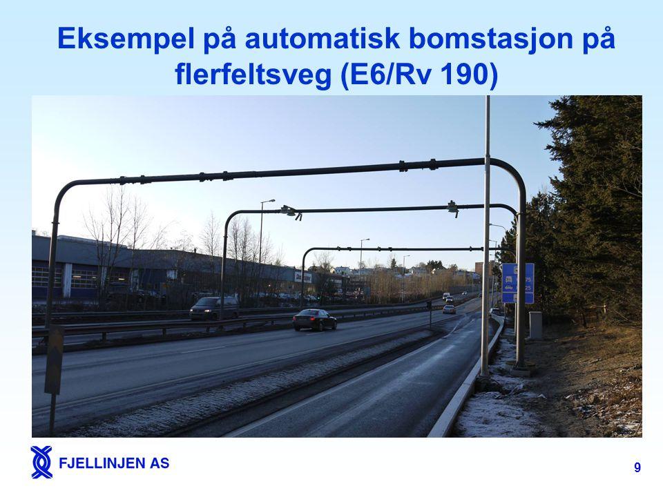 Eksempel på automatisk bomstasjon på flerfeltsveg (E6/Rv 190)